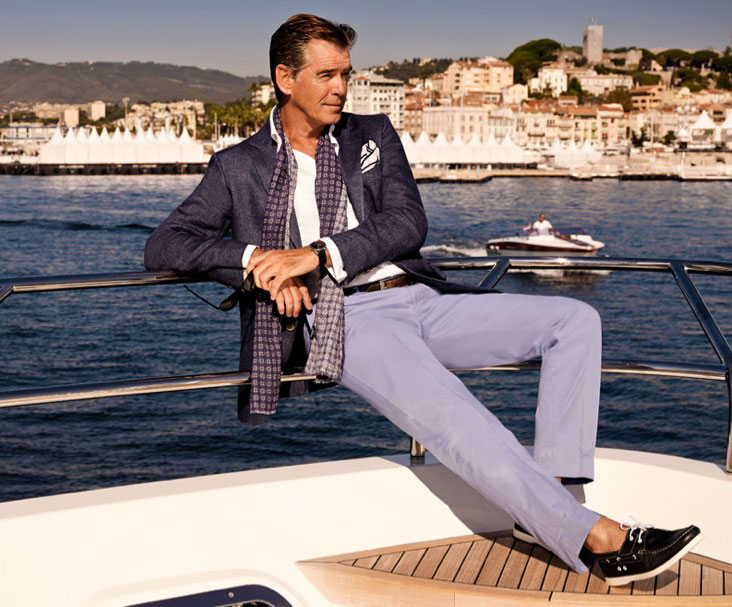 photo production in Nice with actor Pierce Brosnan for Hackett London