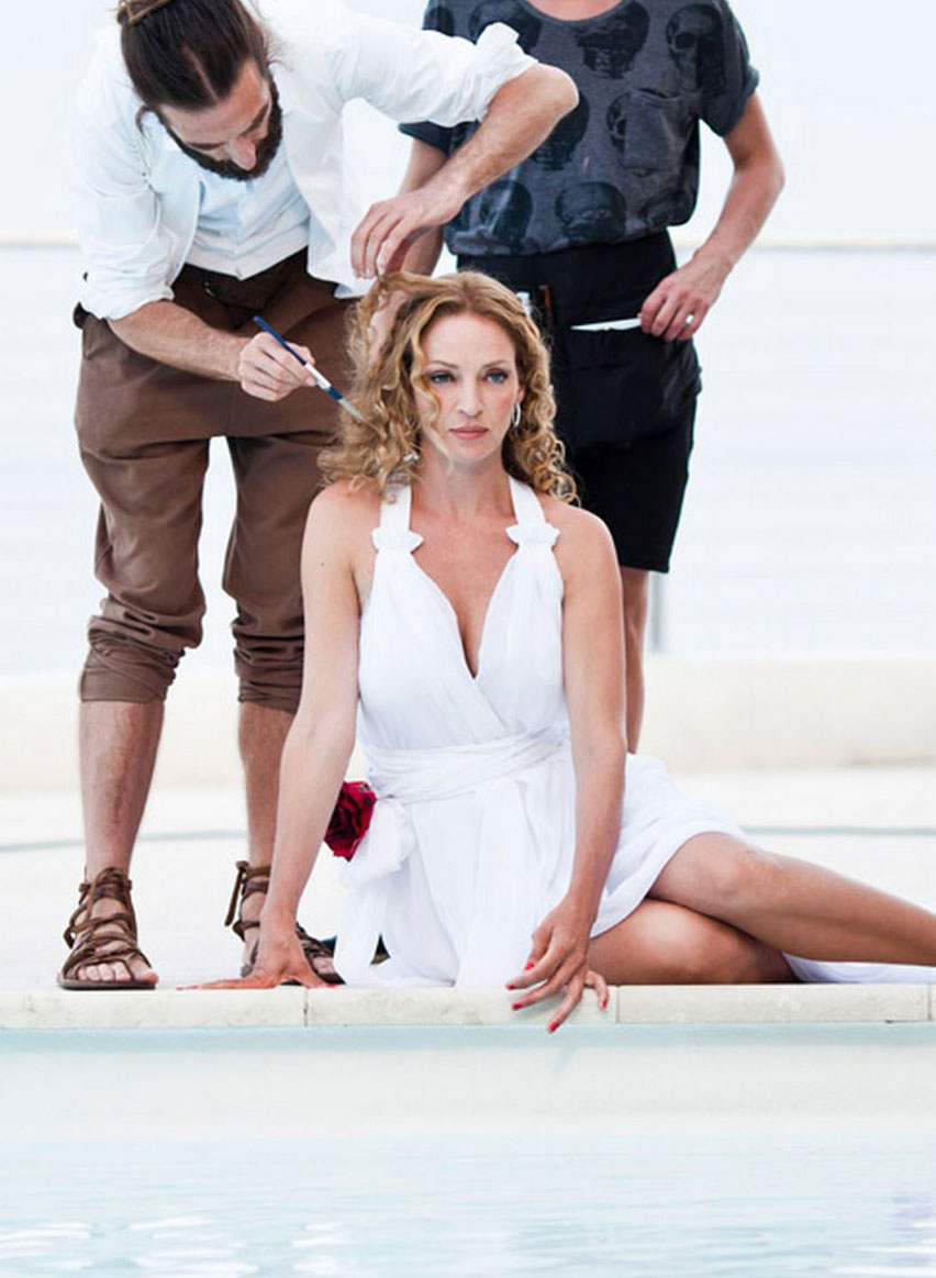 photo production in nice with actress uma thurman