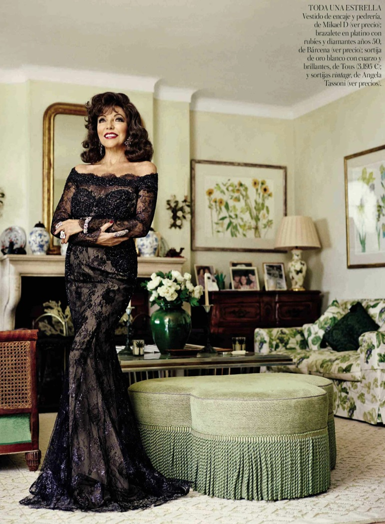 photo production in satin tropez with actress joan collins